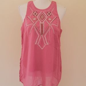 Society Girl blush embroidered blouse size xl